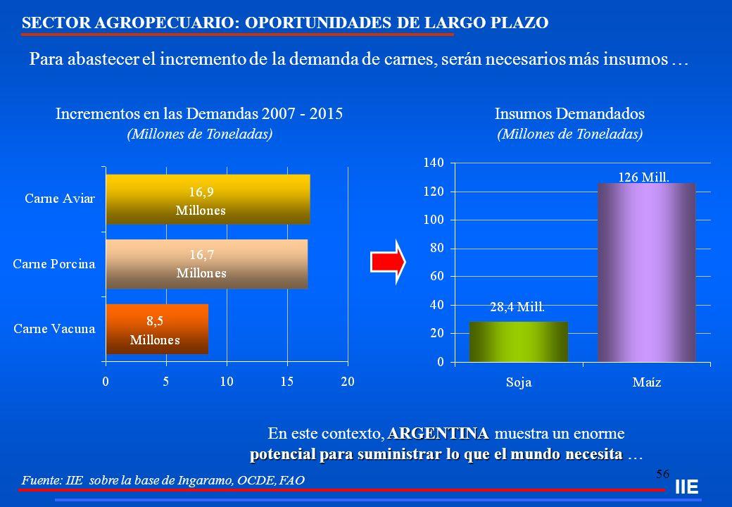 IIE SECTOR AGROPECUARIO: OPORTUNIDADES DE LARGO PLAZO. Para abastecer el incremento de la demanda de carnes, serán necesarios más insumos …