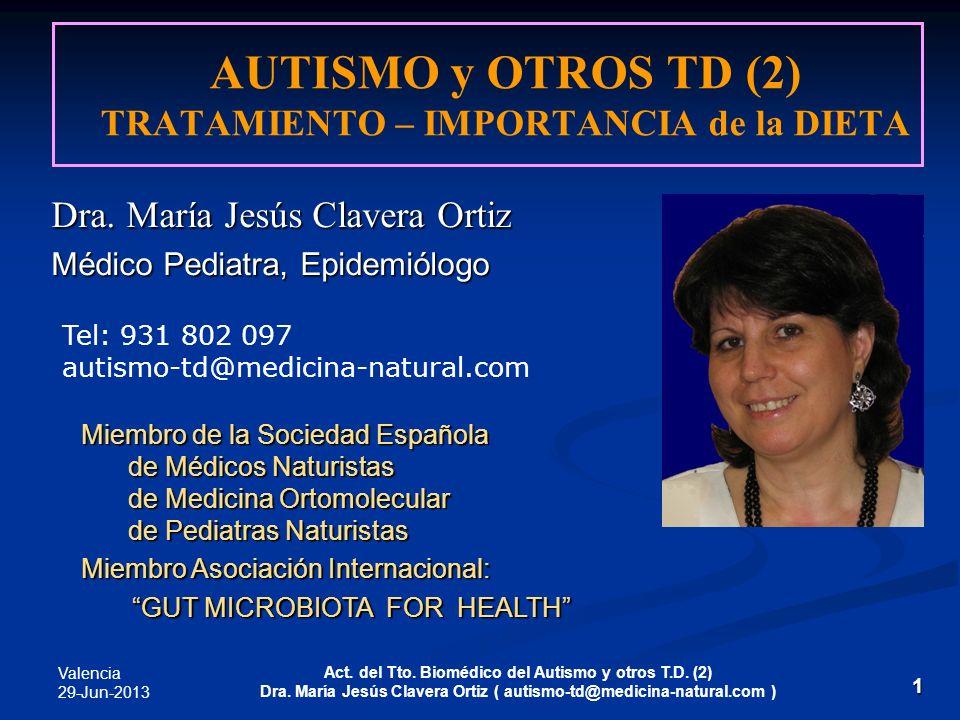 AUTISMO y OTROS TD (2) TRATAMIENTO – IMPORTANCIA de la DIETA