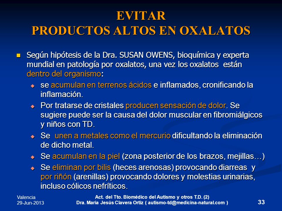 EVITAR PRODUCTOS ALTOS EN OXALATOS