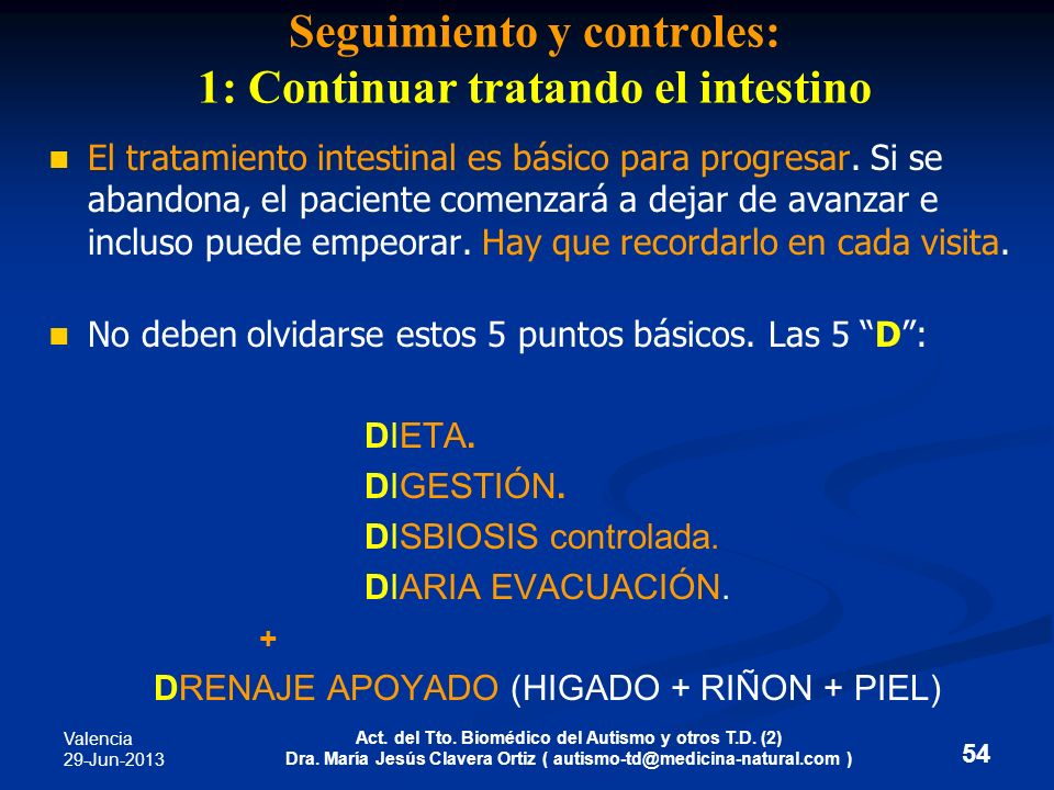 Seguimiento y controles: 1: Continuar tratando el intestino