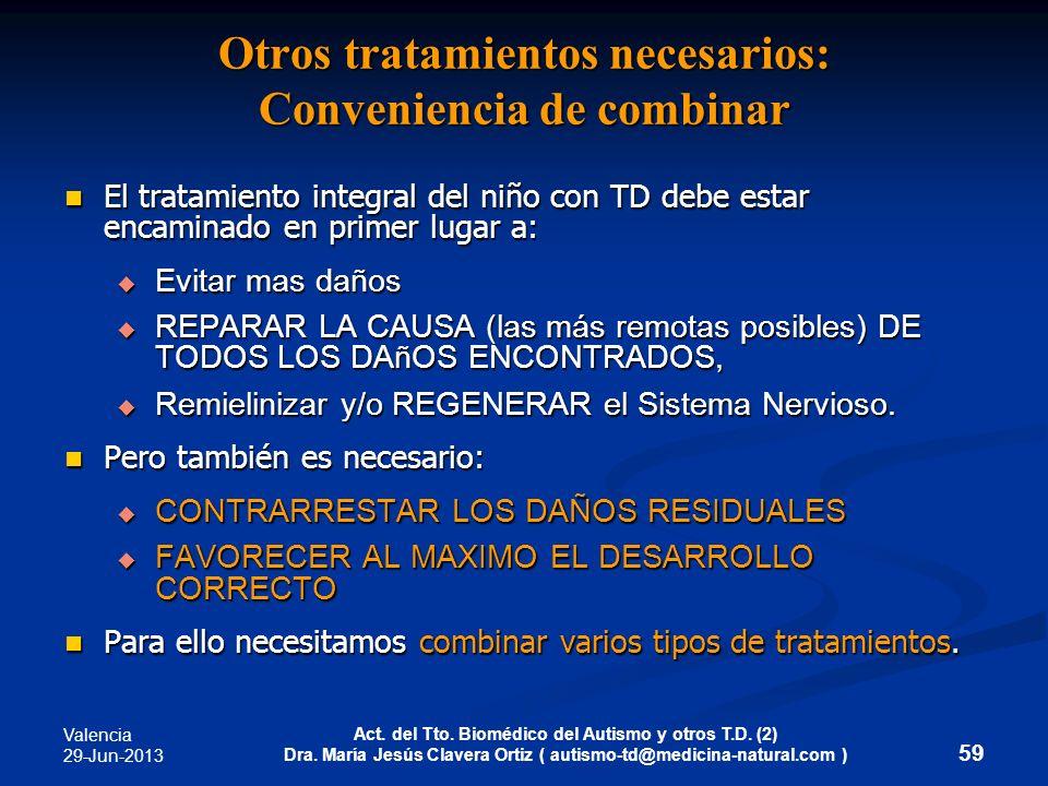Otros tratamientos necesarios: Conveniencia de combinar