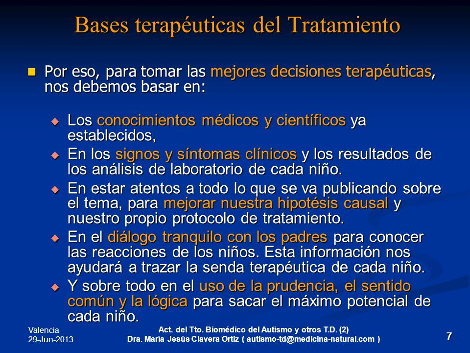 Bases terapéuticas del Tratamiento