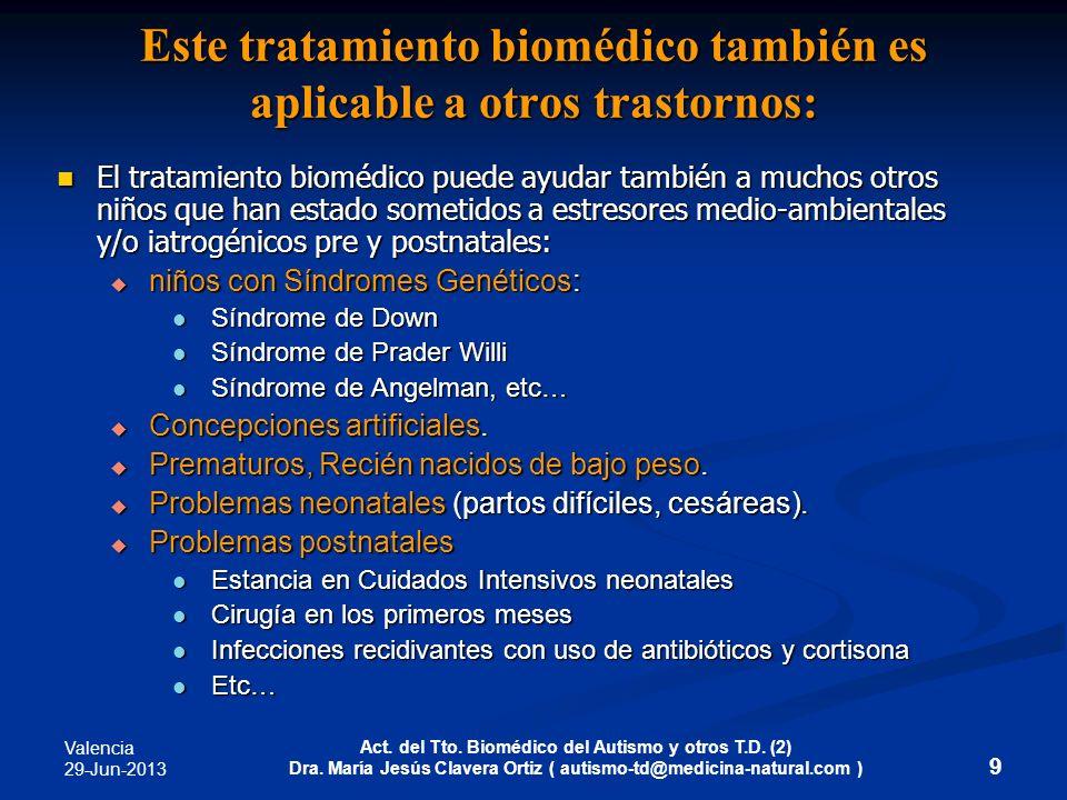 Este tratamiento biomédico también es aplicable a otros trastornos: