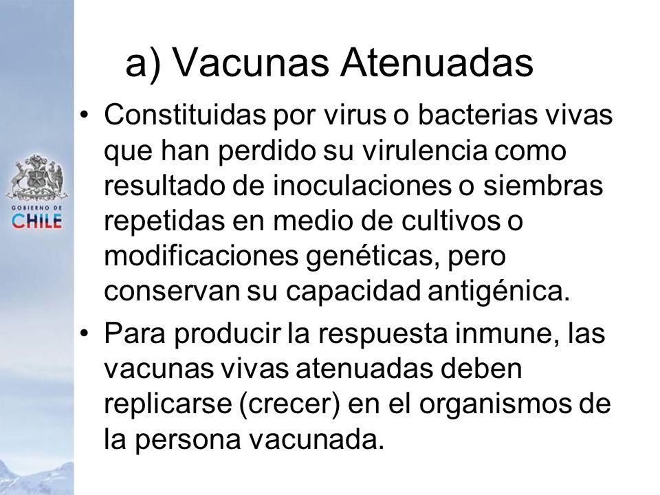 a) Vacunas Atenuadas