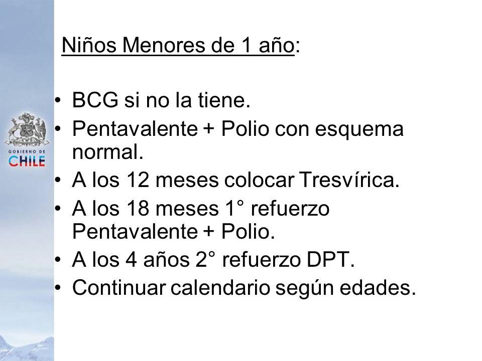 Niños Menores de 1 año:BCG si no la tiene. Pentavalente + Polio con esquema normal. A los 12 meses colocar Tresvírica.