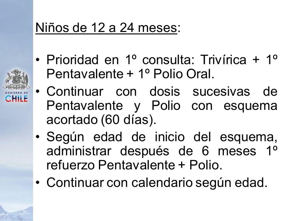 Niños de 12 a 24 meses:Prioridad en 1º consulta: Trivírica + 1º Pentavalente + 1º Polio Oral.