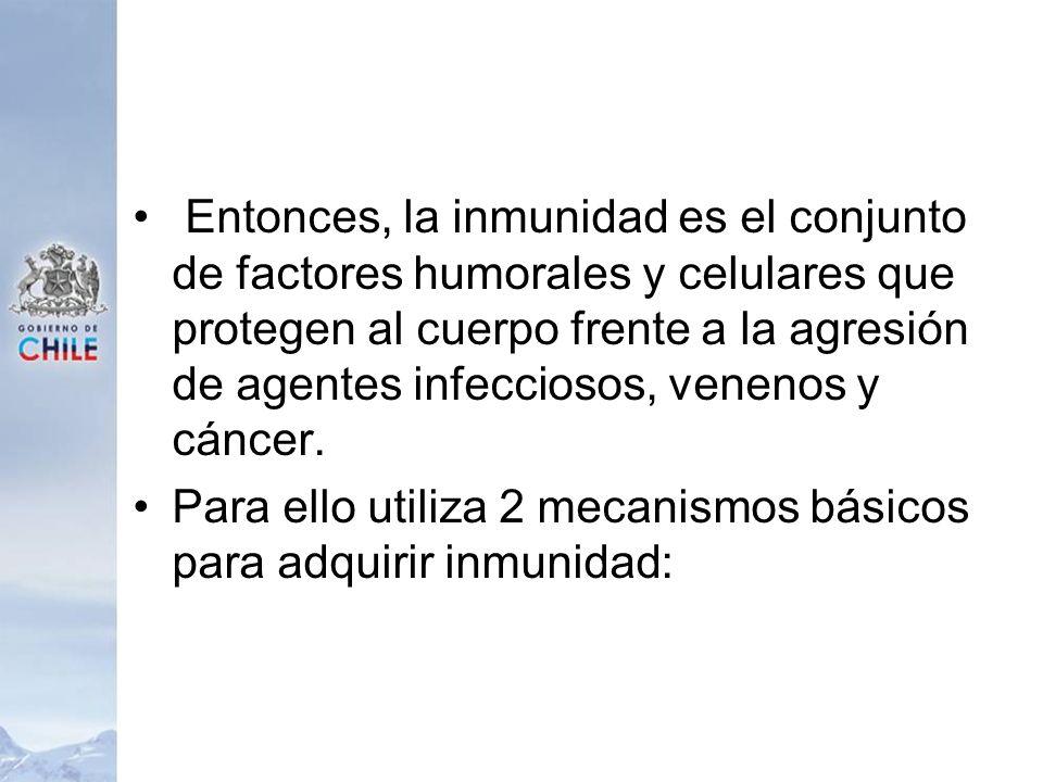 Entonces, la inmunidad es el conjunto de factores humorales y celulares que protegen al cuerpo frente a la agresión de agentes infecciosos, venenos y cáncer.