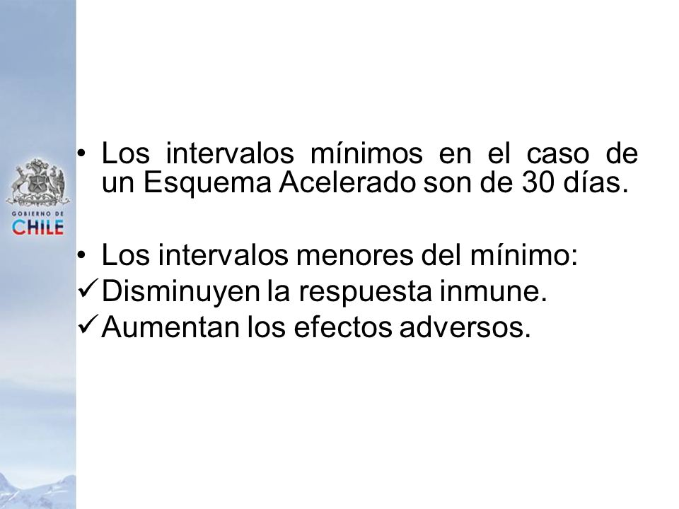 Los intervalos mínimos en el caso de un Esquema Acelerado son de 30 días.