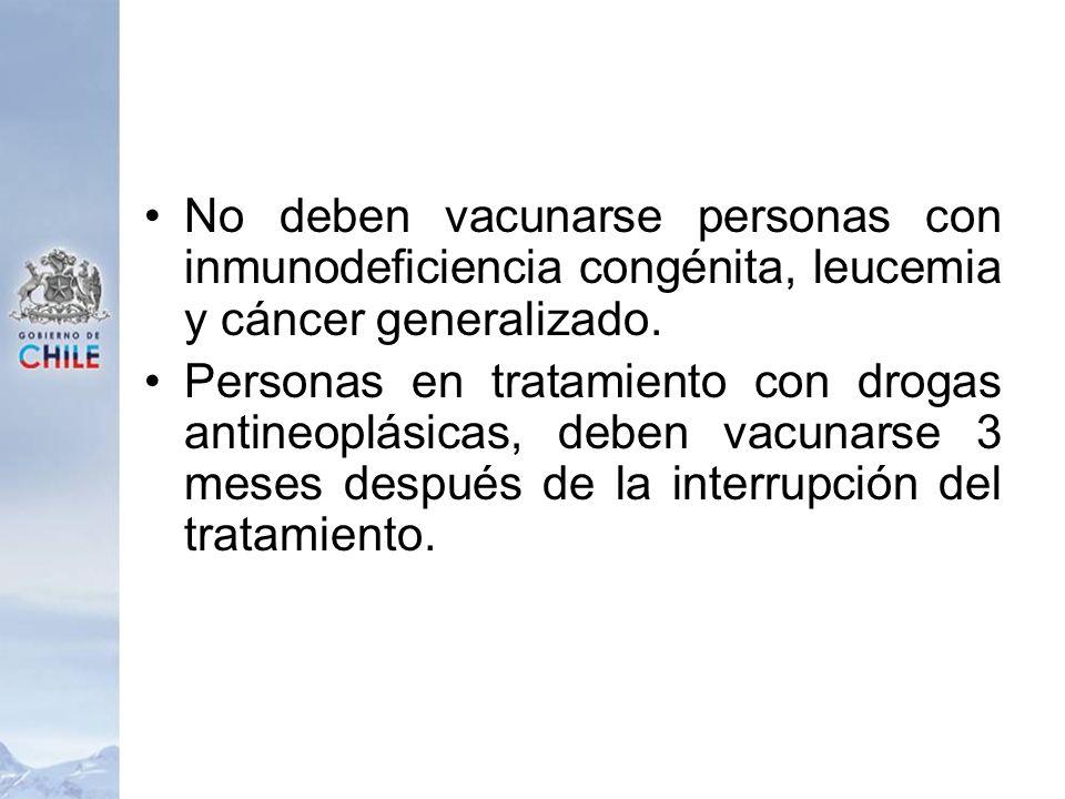 No deben vacunarse personas con inmunodeficiencia congénita, leucemia y cáncer generalizado.