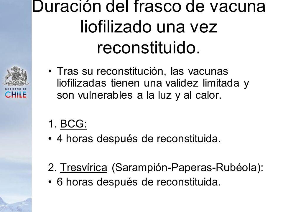 Duración del frasco de vacuna liofilizado una vez reconstituido.