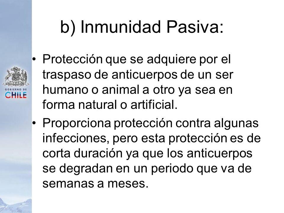 b) Inmunidad Pasiva: Protección que se adquiere por el traspaso de anticuerpos de un ser humano o animal a otro ya sea en forma natural o artificial.