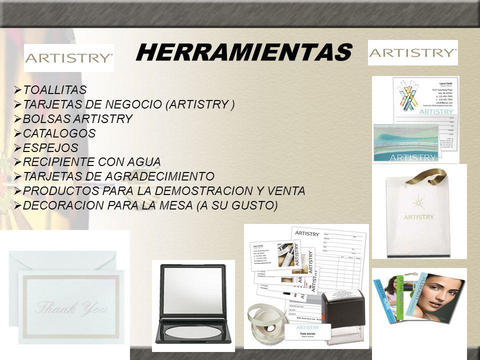 HERRAMIENTAS TOALLITAS TARJETAS DE NEGOCIO (ARTISTRY ) BOLSAS ARTISTRY