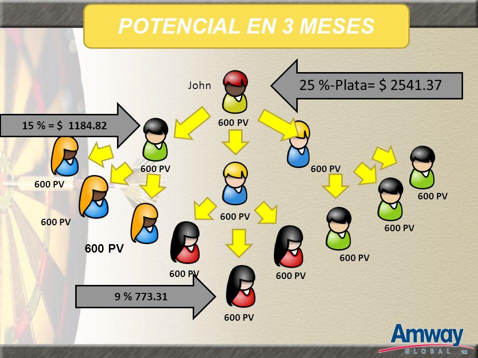 POTENCIAL EN 3 MESES 25 %-Plata= $ 2541.37 John 15 % = $ 1184.82