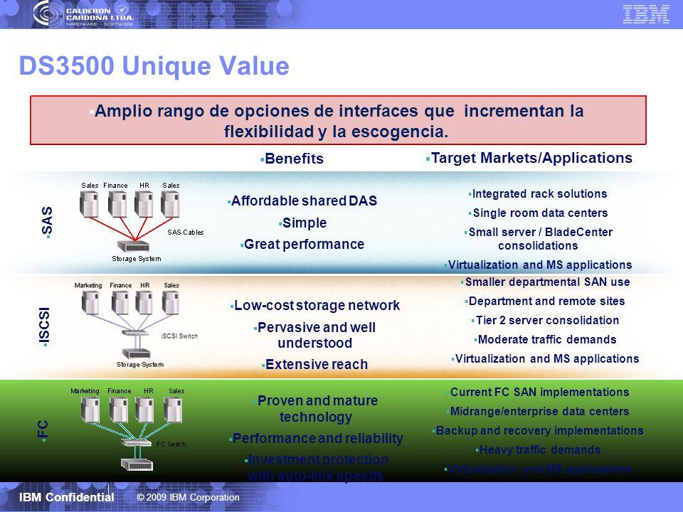 DS3500 Unique ValueAmplio rango de opciones de interfaces que incrementan la flexibilidad y la escogencia.