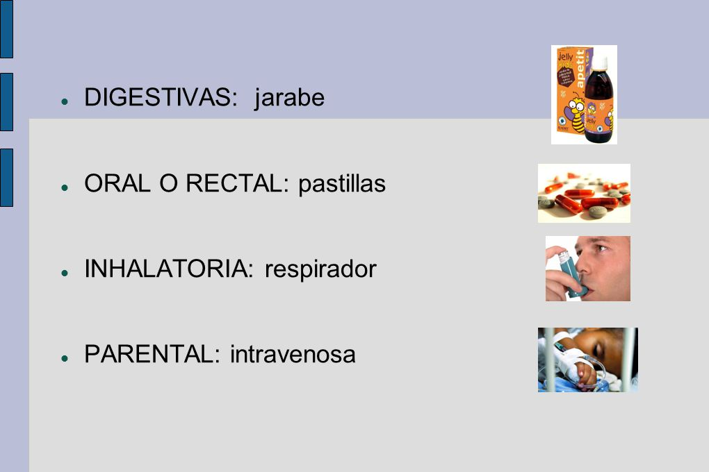 DIGESTIVAS: jarabe ORAL O RECTAL: pastillas INHALATORIA: respirador PARENTAL: intravenosa