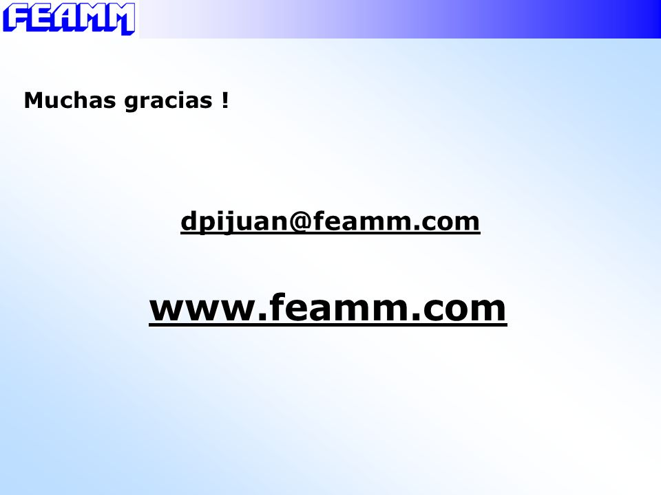 Muchas gracias ! dpijuan@feamm.com www.feamm.com