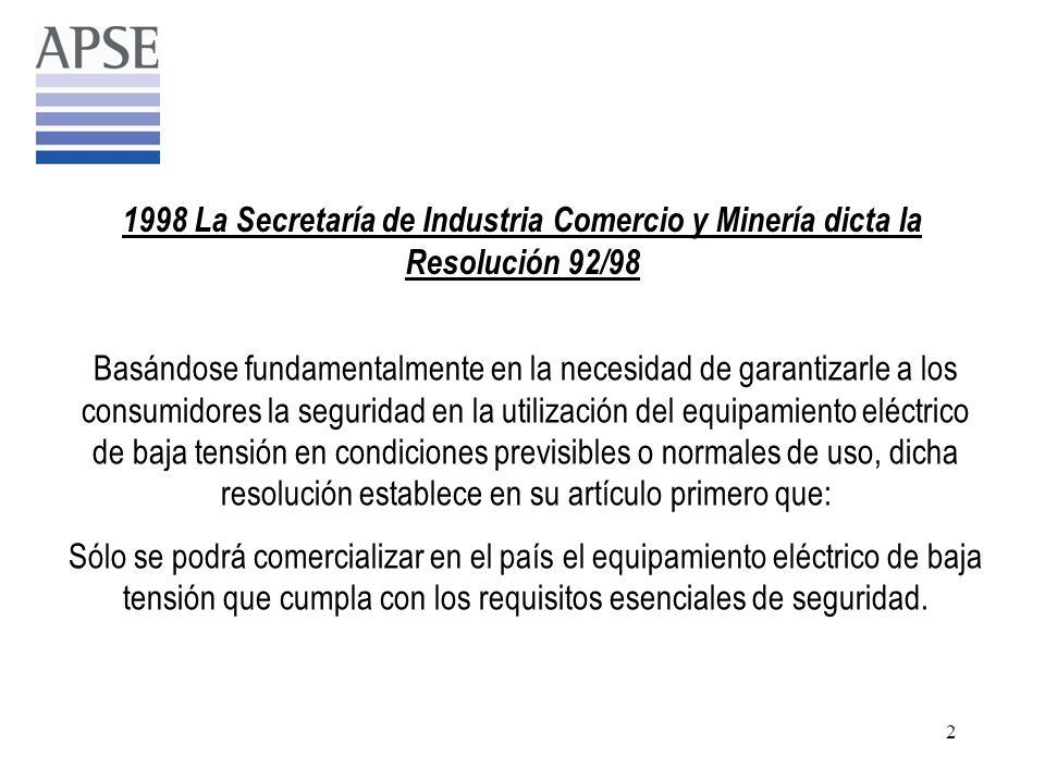 1998 La Secretaría de Industria Comercio y Minería dicta la Resolución 92/98
