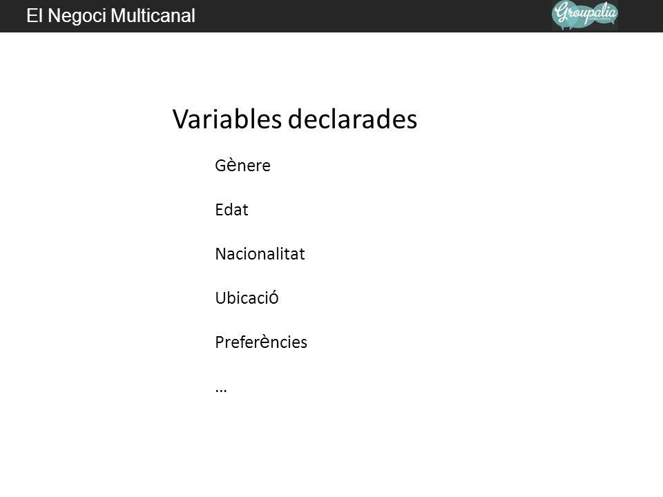 Variables declarades El Negoci Multicanal Gènere Edat Nacionalitat