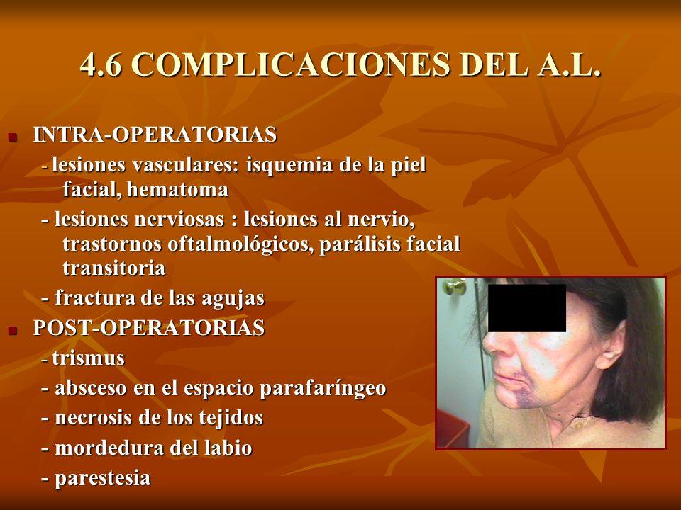 4.6 COMPLICACIONES DEL A.L. INTRA-OPERATORIAS