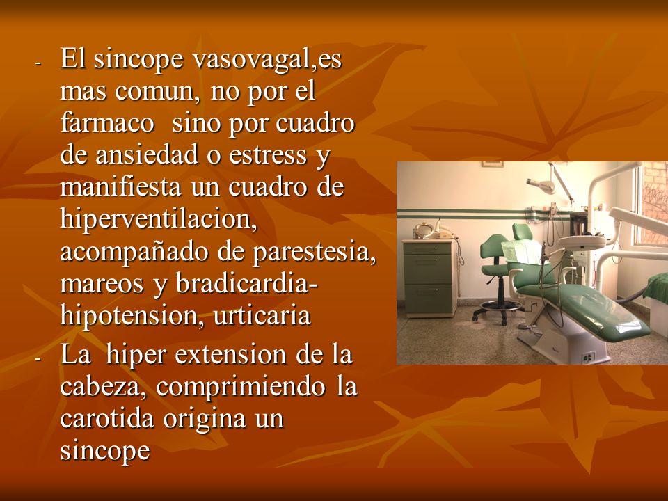 El sincope vasovagal,es mas comun, no por el farmaco sino por cuadro de ansiedad o estress y manifiesta un cuadro de hiperventilacion, acompañado de parestesia, mareos y bradicardia- hipotension, urticaria