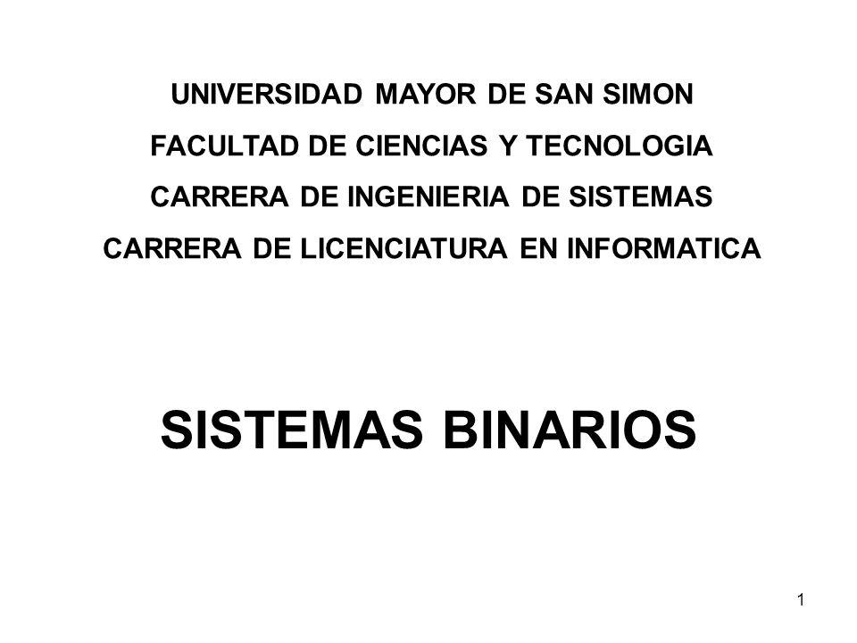 SISTEMAS BINARIOS UNIVERSIDAD MAYOR DE SAN SIMON
