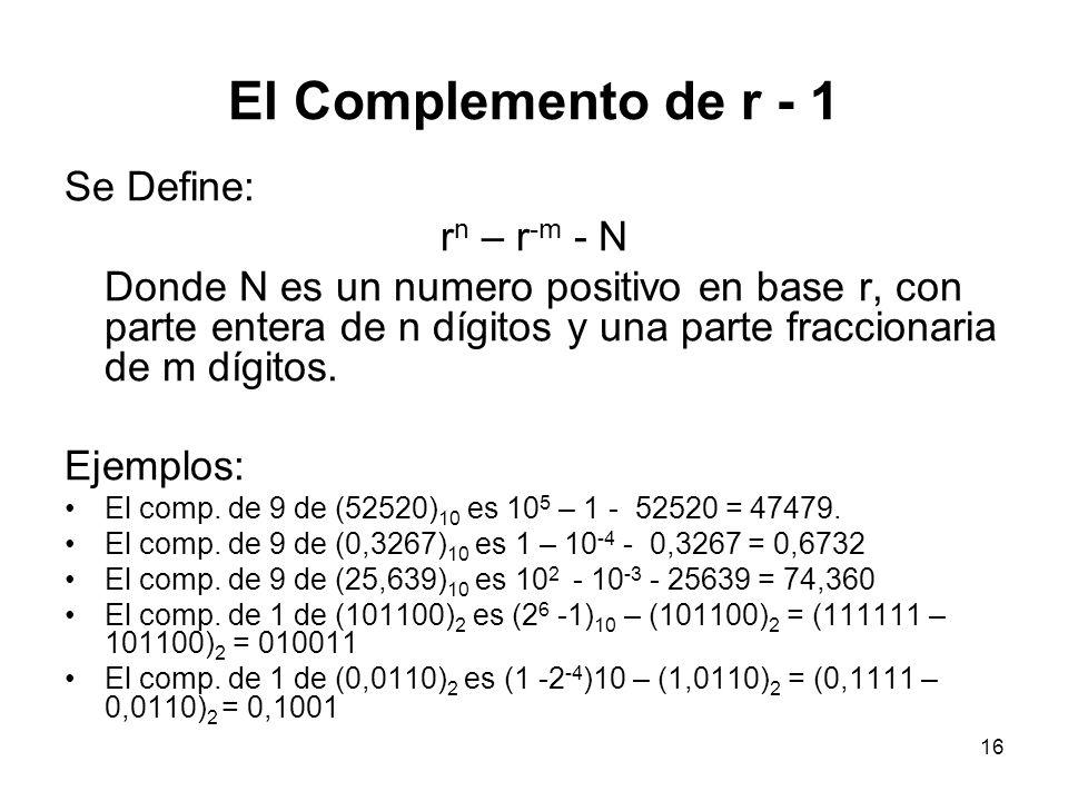 El Complemento de r - 1 Se Define: rn – r-m - N