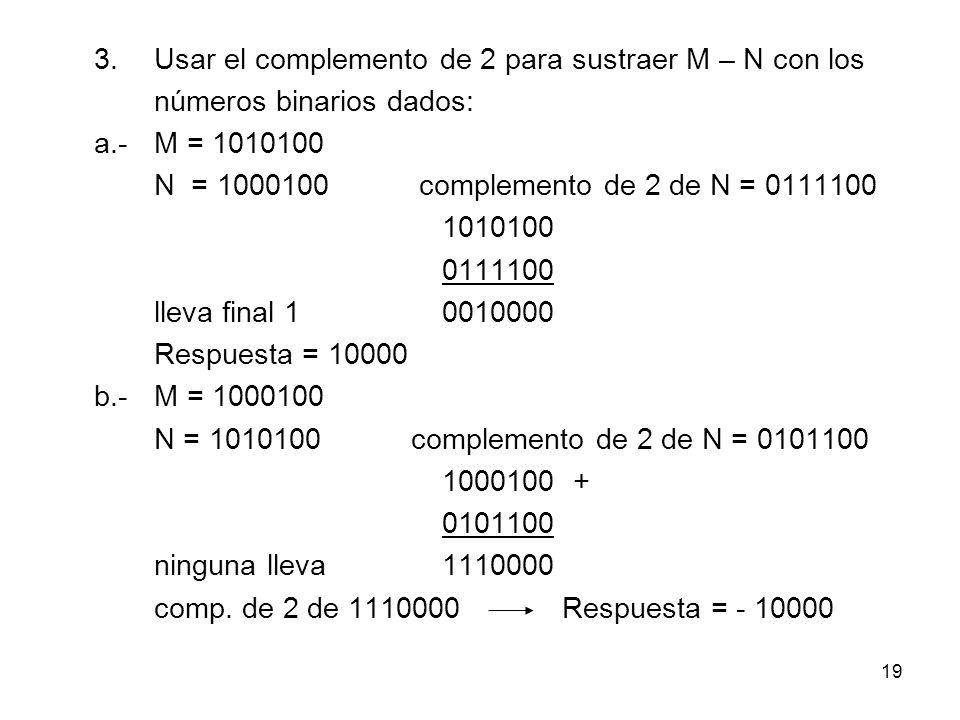 3. Usar el complemento de 2 para sustraer M – N con los