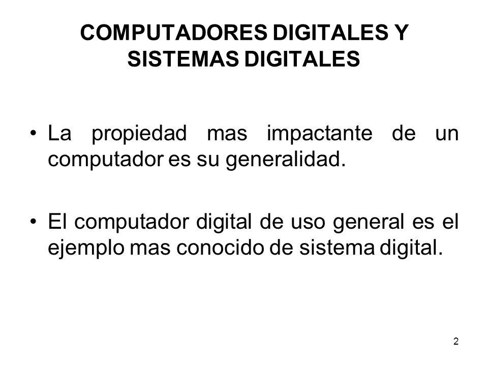COMPUTADORES DIGITALES Y SISTEMAS DIGITALES