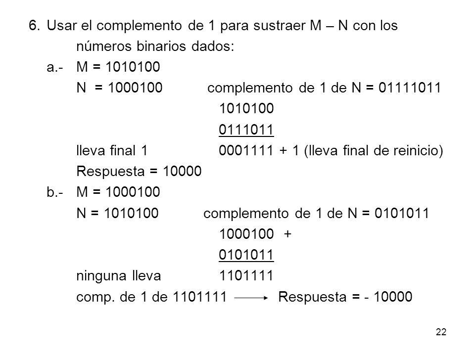 6. Usar el complemento de 1 para sustraer M – N con los