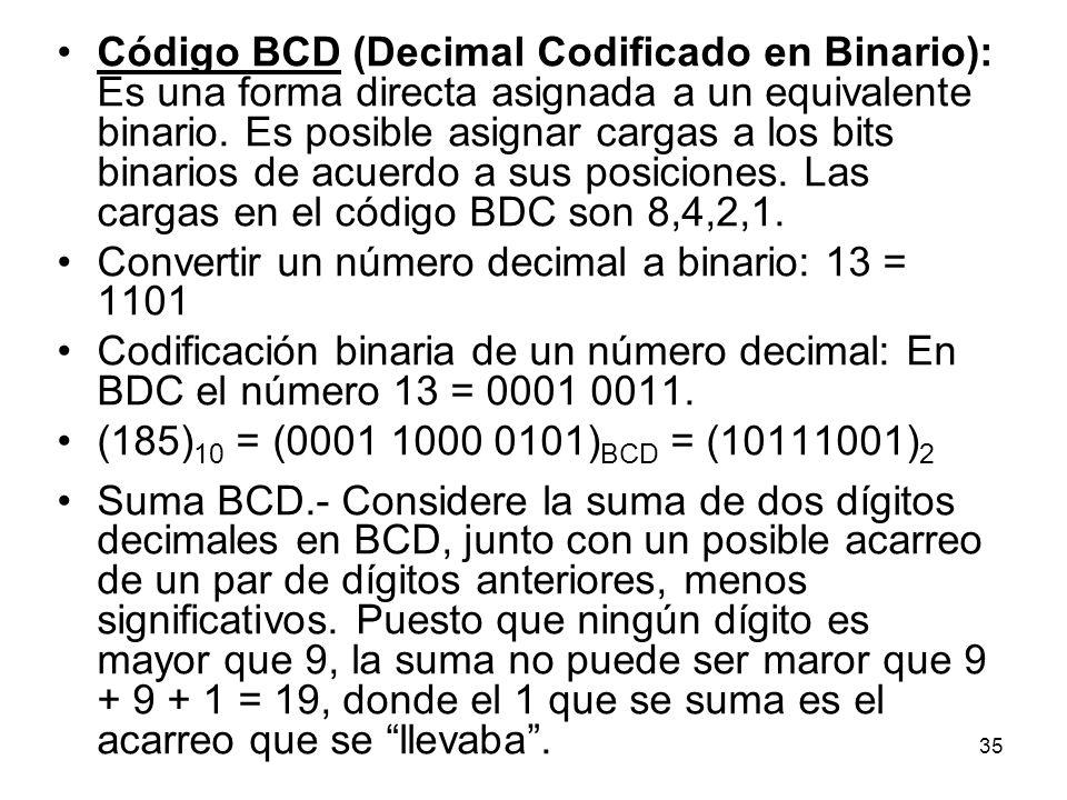 Código BCD (Decimal Codificado en Binario): Es una forma directa asignada a un equivalente binario. Es posible asignar cargas a los bits binarios de acuerdo a sus posiciones. Las cargas en el código BDC son 8,4,2,1.