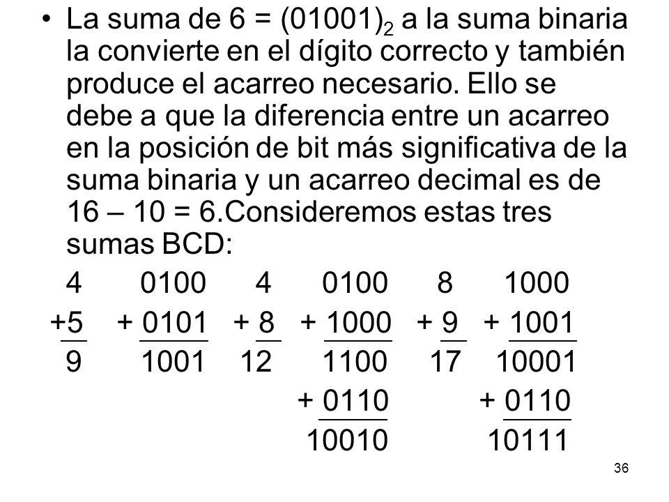La suma de 6 = (01001)2 a la suma binaria la convierte en el dígito correcto y también produce el acarreo necesario. Ello se debe a que la diferencia entre un acarreo en la posición de bit más significativa de la suma binaria y un acarreo decimal es de 16 – 10 = 6.Consideremos estas tres sumas BCD: