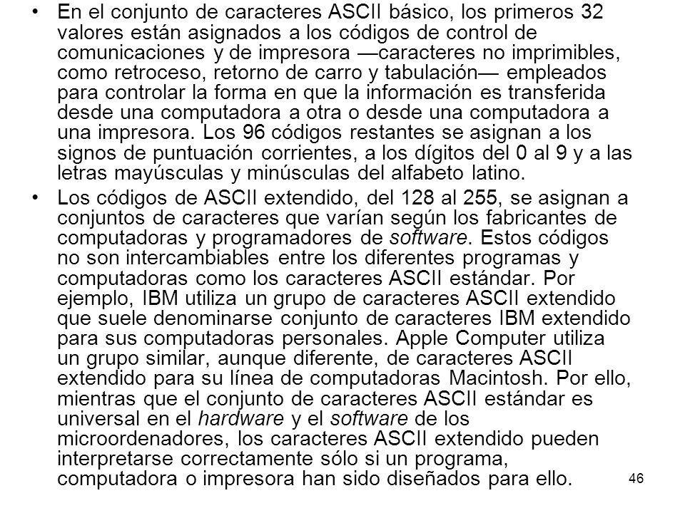 En el conjunto de caracteres ASCII básico, los primeros 32 valores están asignados a los códigos de control de comunicaciones y de impresora —caracteres no imprimibles, como retroceso, retorno de carro y tabulación— empleados para controlar la forma en que la información es transferida desde una computadora a otra o desde una computadora a una impresora. Los 96 códigos restantes se asignan a los signos de puntuación corrientes, a los dígitos del 0 al 9 y a las letras mayúsculas y minúsculas del alfabeto latino.