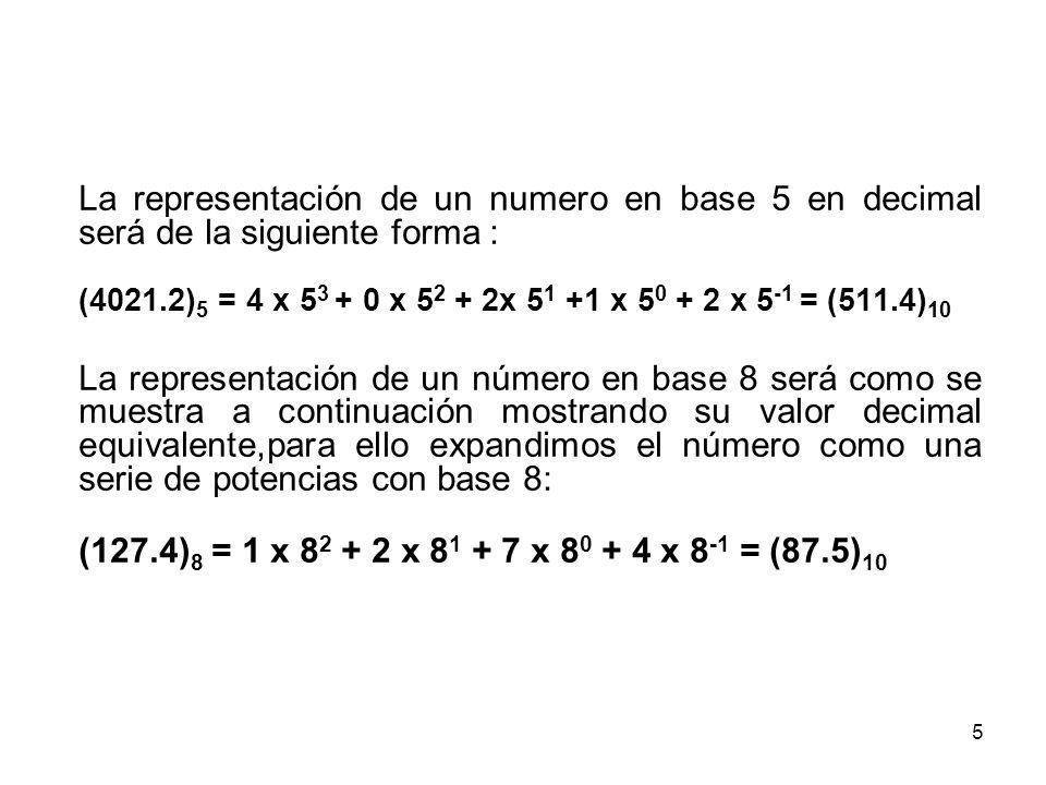 La representación de un numero en base 5 en decimal será de la siguiente forma :
