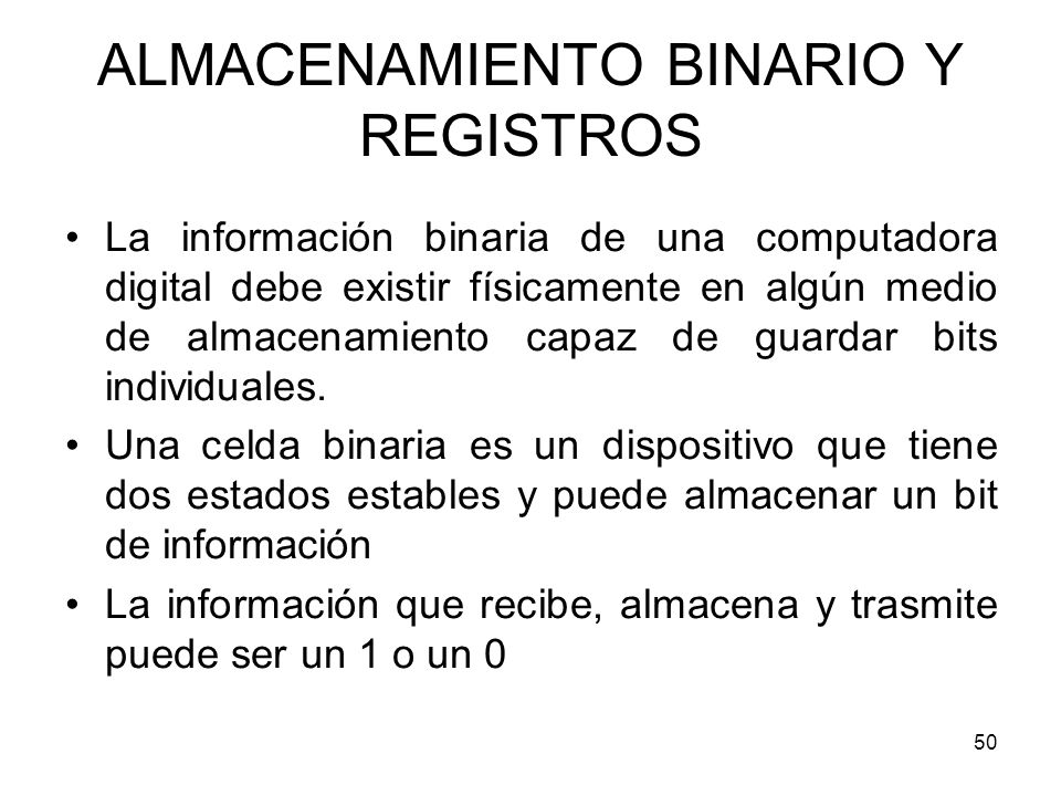 ALMACENAMIENTO BINARIO Y REGISTROS