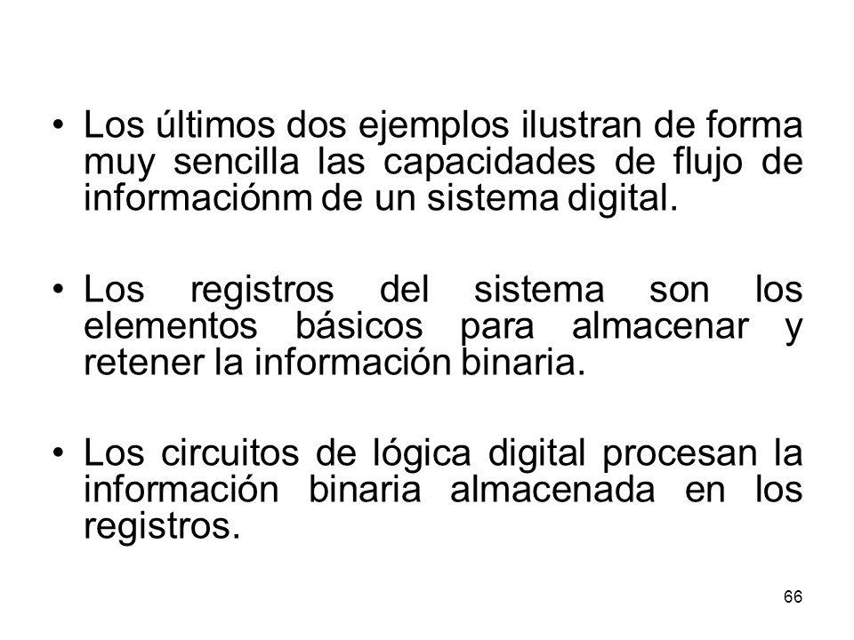 Los últimos dos ejemplos ilustran de forma muy sencilla las capacidades de flujo de informaciónm de un sistema digital.