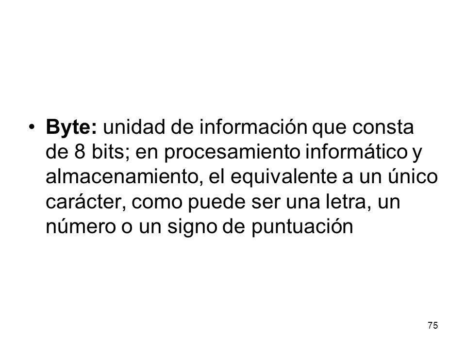 Byte: unidad de información que consta de 8 bits; en procesamiento informático y almacenamiento, el equivalente a un único carácter, como puede ser una letra, un número o un signo de puntuación