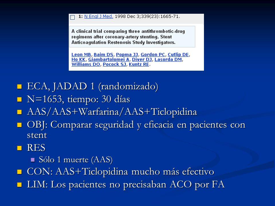 ECA, JADAD 1 (randomizado) N=1653, tiempo: 30 días