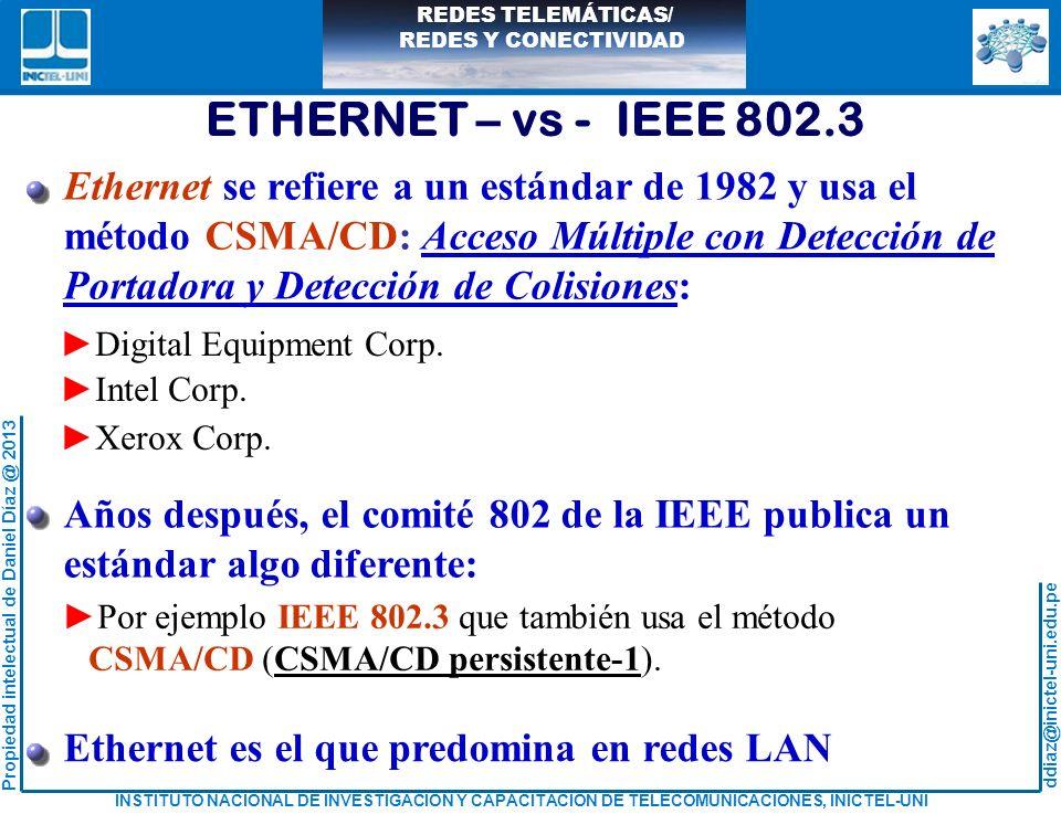 ETHERNET – vs - IEEE 802.3 Ethernet se refiere a un estándar de 1982 y usa el. método CSMA/CD: Acceso Múltiple con Detección de.