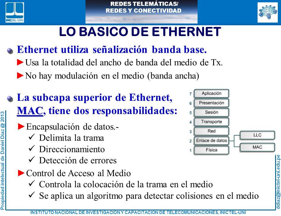 LO BASICO DE ETHERNET Ethernet utiliza señalización banda base.