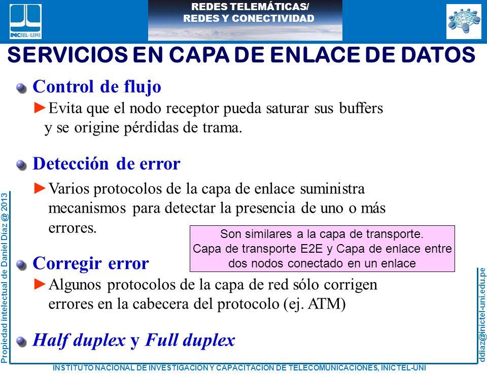 SERVICIOS EN CAPA DE ENLACE DE DATOS