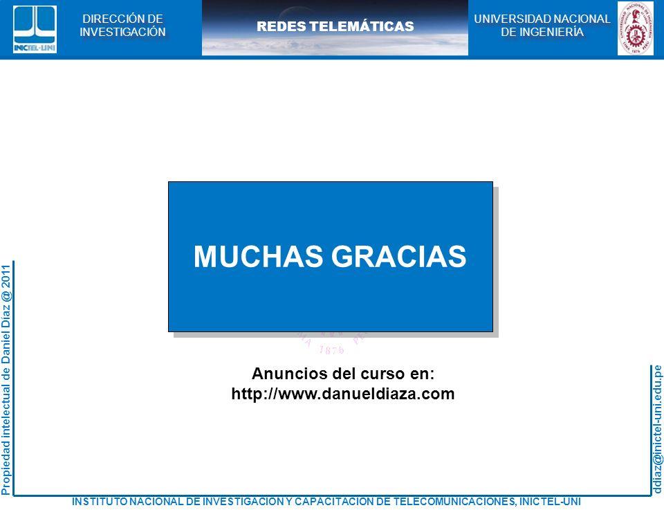 MUCHAS GRACIAS Anuncios del curso en: http://www.danueldiaza.com