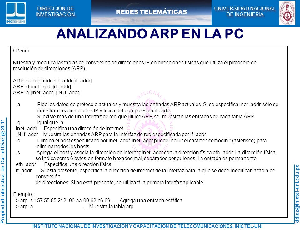 ANALIZANDO ARP EN LA PC C:\>arp