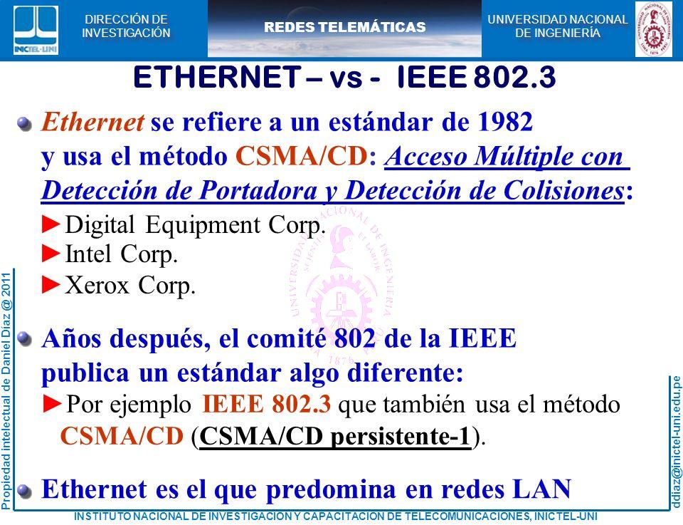 ETHERNET – vs - IEEE 802.3 Ethernet se refiere a un estándar de 1982