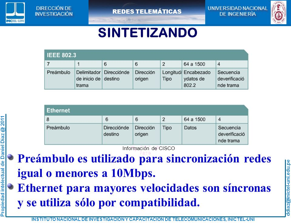 SINTETIZANDO Preámbulo es utilizado para sincronización redes