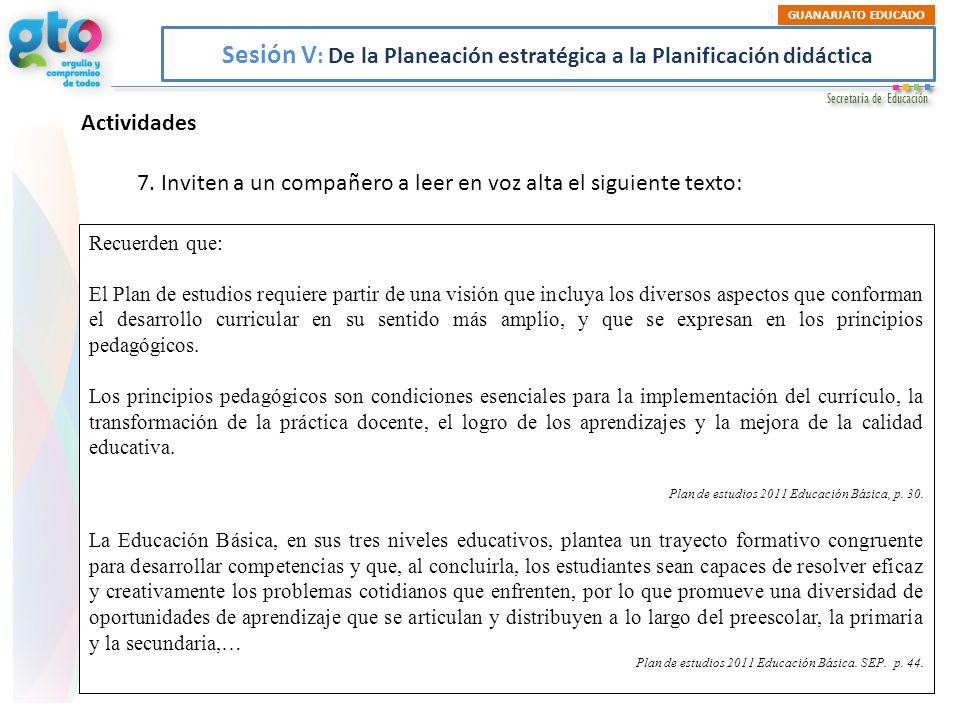 Sesión V: De la Planeación estratégica a la Planificación didáctica