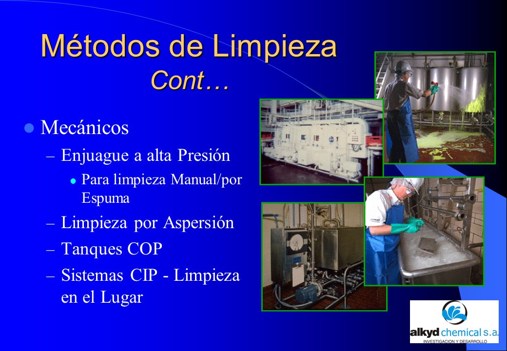 La limpieza y desinfecci n en la industria cervecera ppt for Manual de limpieza y desinfeccion para una cocina