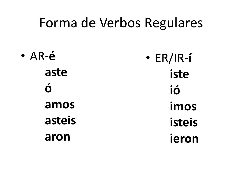 Forma de Verbos Regulares