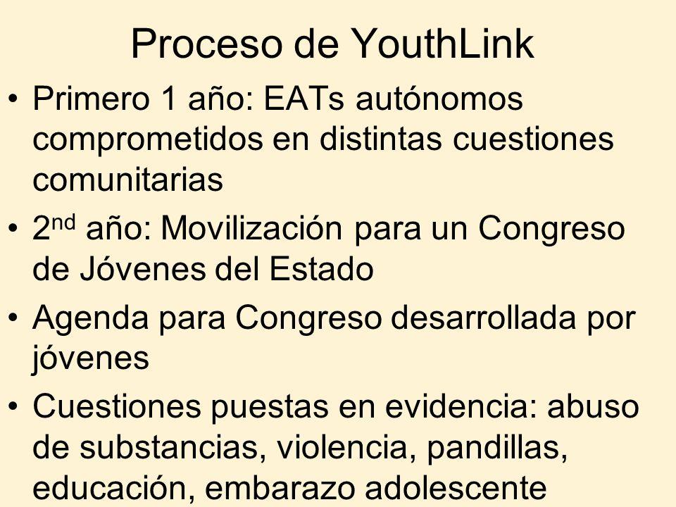 Proceso de YouthLink Primero 1 año: EATs autónomos comprometidos en distintas cuestiones comunitarias.