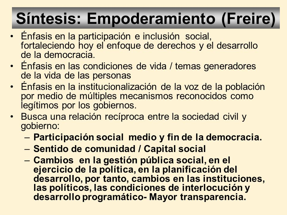 Síntesis: Empoderamiento (Freire)