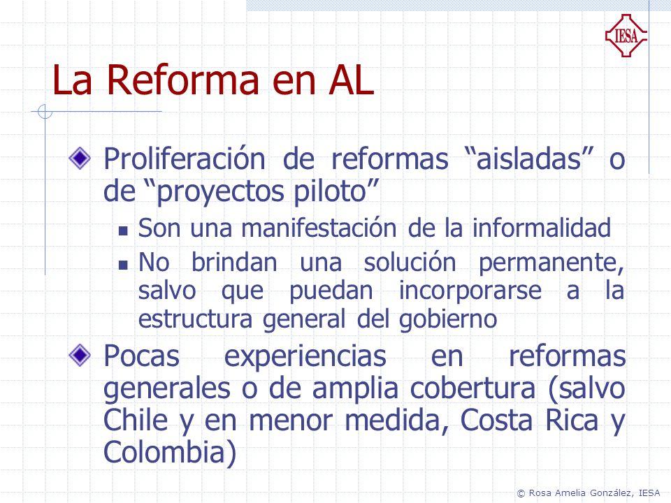 La Reforma en AL Proliferación de reformas aisladas o de proyectos piloto Son una manifestación de la informalidad.